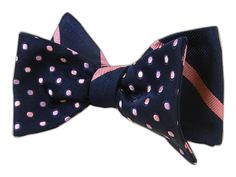Rimmed/Trad - Navy/Pink (Reversible Bow Ties) | Ties, Bow Ties, and Pocket Squares | The Tie Bar