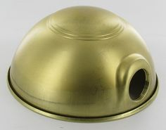 UNFINISHED BRASS RINGED TOP PARABOLIC SHADE WITH UNO SOCKET THREAD - 6-1/2 inch DIAMETER AND 3-1/3 inch DEEP