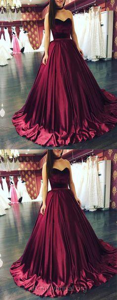 Burgundy Prom Dresses Long, Ball Gown Prom Dresses, Formal Prom Dresses for Teens, Sweetheart Evening Dresses 2018