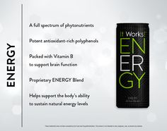 Energy: This is not your typical energy drink! ENERGY is blended with a proprietary formula and packed with natural stimulants, so no jittery effects like those other energy drinks can cause. sknudholt.myitworks.com