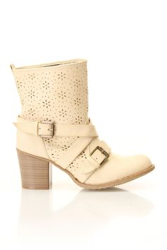 Kris Boots In Cream - LOVE these!! $14.99