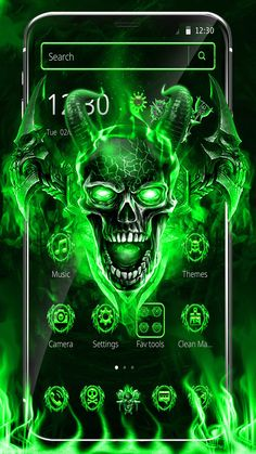 Do not talk tough, if you cant backup. Scary Skull with green neon flames. Scary Wallpaper, Skull Wallpaper, Day Of The Dead Art, Demon Art, Skull Tattoos, Camera Settings, Live Wallpapers, Skull Art, Neon Green