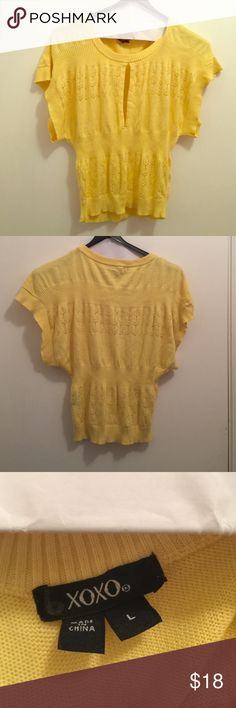 Cute yellow sweater!! Cute yellow sweater worn many times during fall!!..always received compliments on it!!..still in good condition!! XOXO Sweaters Cardigans