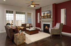 Family room with fireplace, Peacefield floor plan, Drees Homes