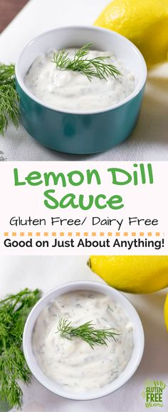 Both gluten free and dairy free this lemon dill sauce is a flavor combo that will add a wow factor to any dish. Perfect as a dipping sauce for fried fish or on top of salmon! Only takes 5 minutes to make with 5 ingredients. No cooking required! Dairy Free Sauces, Vegan Sauces, Dairy Free Recipes, Healthy Recipes, Gluten Free, Vegetarian Recipes, Dairy Free Dips, Tasty Meals, Healthy Breakfasts