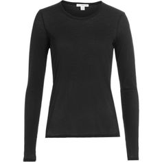 James Perse Long Sleeved Cotton Top ($110) ❤ liked on Polyvore featuring tops, black, fitted tops, long sleeve tops, james perse top, slimming tops and james perse