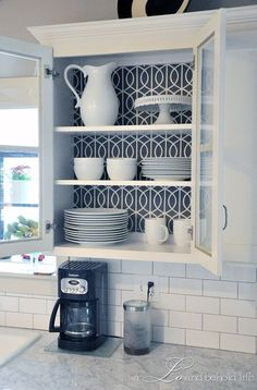 IHeart Organizing: Reader Space: An Organized Kitchen with Class! I need to paper the back of my shelves.