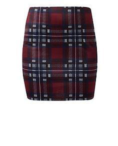 Burgundy Check Tube Skirt  | New Look