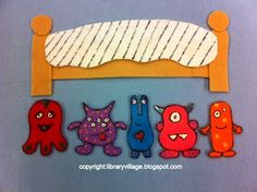 5 Little Monsters Sleeping in my Bed! Flannel Board, Rhyme, and Coloring Page from LibraryVillage.blogspot.com