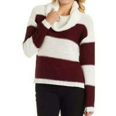 Striped Cowl Neck Sweater Burgundy and white knit sweater with oversized cowl neck. Long sleeves and ribbed hems. Slit up either side . One medium and one large available. Charlotte Russe Sweaters Cowl & Turtlenecks