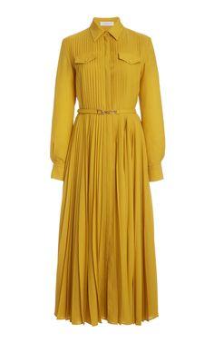 Erella Pleated Wool-Cashmere Shirt Dress by Gabriela Hearst Day Dresses, Cute Dresses, Dress Outfits, Fashion Dresses, Frill Dress, Lace Dress, Elegant Dresses, Beautiful Dresses, Fashion Illustration Dresses