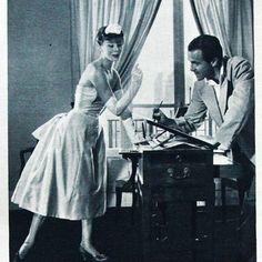 Plaisir de France - René Gruau croquant une jeune fille dans une robe Dior (octobre 1953)