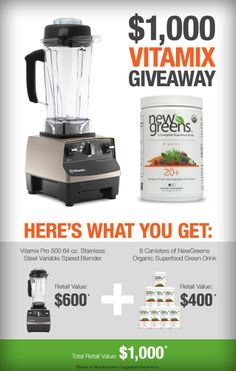 Vitamix and NewGreens Giveaway $1000 VALUE! Click here to enter to win and please REPIN! | www.homemademommy.net