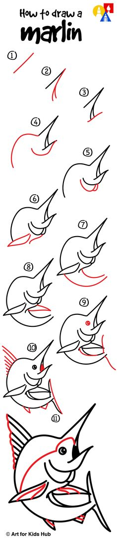 How To Draw A Marlin - Art For Kids Hub -