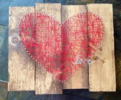 String Heart with love on Staggered Stained wood by NailedItDesign, $34.00