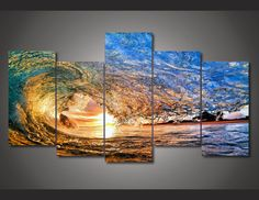 5 Pieces Multi Panel Modern Home Decor Framed Sunset Ocean Wave Wall Canvas Art - Octo Treasures - 1 5 Piece Canvas Art, Canvas Wall Art, Canvas Prints, Framed Canvas, Painting Canvas, Spray Painting, Framed Wall, Art Prints, Ocean Wave Painting