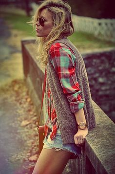 knit vest over plaid