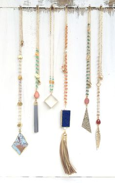 Long Statement Necklaces. Fun Layering Necklaces. Spring Jewelry.