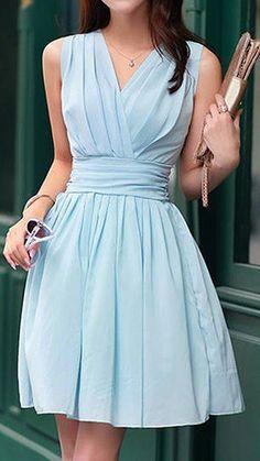 Light blue pleated bridesmaid dress @myweddingdotcom