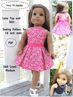 Amazing Photo of American Girl Doll Sewing Patterns American Girl Doll Sewing Patterns Lana Top And Skirt Sewing Pattern Suzymstudio American Girl Outfits, American Girl Dress, American Doll Clothes, American Dolls, Sewing Doll Clothes, Girl Doll Clothes, Girl Dolls, Ag Dolls, Poupées Our Generation