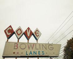 Vintage Neon Sign photo, Bowling, Mid Century, 1950s, Berkshires, Americana- 8x10 fine art photograph