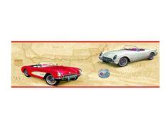 Corvette-Wallpaper-Border-GM-Route-66-EB9028B-American-Classics-Prepasted-Sealed