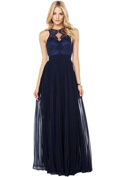 Bariano Luciana High Neck Maxi in Navy features a deep sweetheart neckline on a high lace/mesh neck, padded cups, a pleated skirt, a sheer lace racerback with a cutout detail and four neck button closures, and an invisible back zipper with hook-and-eye closure. Lined.