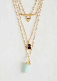 Glitz Charming Necklace. Add a touch of princess-worthy loveliness to your day with this layered necklace! #gold #modcloth