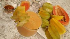 Frappe de papaya, mango y carambola
