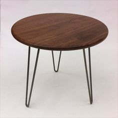 Round Solid Walnut Mid Century Modern Side Table - New Atomic Era Design In Solid Walnut with Hairpin Legs Mid Century Modern Side Table, Mid Century Modern Design, Coffee Table Size, Steel Bar, Round Dining Table, Rustic Furniture, Mid-century Modern, Hairpin Legs, Bedside Tables