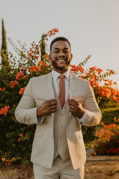 Mens Wedding Tux, Tan Suit Wedding, Wedding Attire, Wedding Themes, Wedding Colors, Wedding Flowers, Wedding Ideas, Tan Groomsmen Suits, Rustic Groomsmen Attire