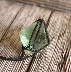 pic - crochet around stone - Fluorite Necklace Fluorite Pendant Cubic by TheTreeFolkHollow