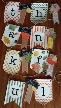 """Stampin' Up Simply Created Thanksgiving """"thankful"""" banner. Inspired by Becky Liggin. 5 Thankful days, project #10! (LAST ONE!) http://www.papermadeprettier.blogspot.com/2013/11/5-thankful-days-of-thanksgiving_8431.html"""