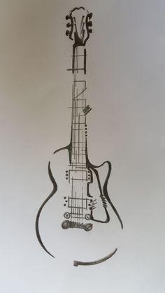 guitar drawing easy step by step . Simbols Tattoo, Rune Tattoo, Tatoo Art, Guitar Sketch, Guitar Drawing, Guitar Art, Guitar Scales, Easy Guitar, Music Tattoo Sleeves