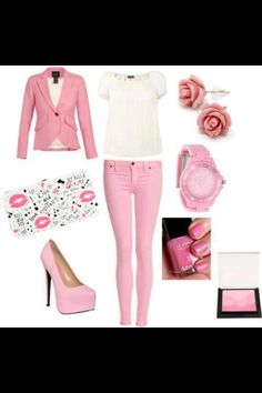 Pink and white outfit with matching accessories... Not the shoes.... I can't dance in those.... SHARPAY INSPIRATION/STYLE