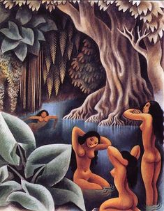 Bathing in the River by Miguel Covarrubias for Vanity Fair. Gouache