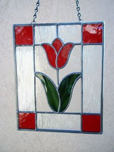 Red Spring Stained Glass Panel from Etsy