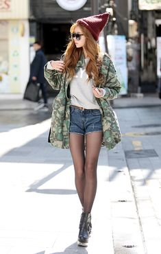 #fashion #korean Military jacket, denim cutoffs