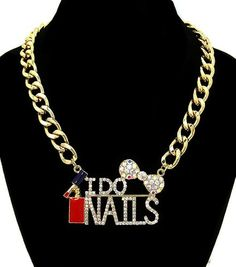 """Gold """"I DO NAILS"""" Necklace Rhinestone Statement Link Chain Nail Polish Bow Cute"""