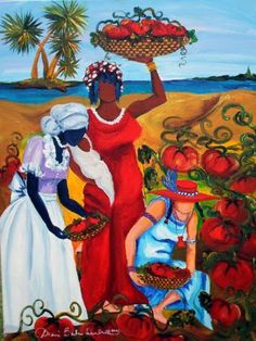 """by Diane Britton Dunham, """"Tomatoes"""". Dunham is famous for her genuine illustration of Gullah- Creole culture themes represent SC, Louisiana, & African daily life. African American Artist, American Artists, African Art, Black Love Art, Pretty Black, Haitian Art, Caribbean Art, Art Africain, Painting People"""