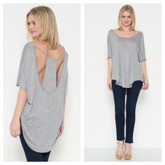 Open back layered top Chic open back layered style top available in black and grey  PLEASE comment on the size you want and allow me to make you a personalized listing BUNDLE AND SAVE 10% Tops Tunics