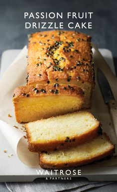 A simple loaf cake with a creamy coconut sponge, drizzled with a zesty passion fruit and lime syrup. Tap for the full Waitrose & Partners recipe. Baking Recipes, Cake Recipes, Dessert Recipes, Chocolates, Passion Fruit Cake, Waitrose Food, Delicious Desserts, Yummy Food, Tasty