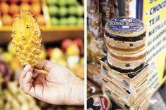 Lima: comer, pasear y amarla  Izquierda: FRUTA DEL DRAGÓN AMARILLO:  se consigue en el mercado de Surquillo y tiene pulpa dulce, ideal para licuados. Derecha: KING KONG: es típico del norte de perú, con dulces de piña, de maní y manjar blanco (el dulce de leche peruano)