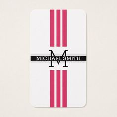 Professional Monogram Modern Cerise Stripes Business Card - minimalist office gifts personalize office cyo custom