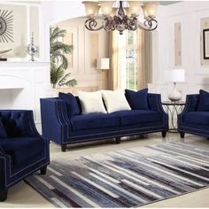 living room design with sofa bed Cheap Living Room Sets, Blue Living Room Decor, Living Room Grey, Formal Living Rooms, Living Room Interior, Living Room Designs, Blue And Brown Living Room, Blue Velvet Sofa Living Room, Navy Blue Velvet Sofa