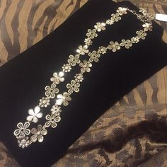 """Premier Designs Daisy Chain Necklace Antiqued matte silver plated, crystals 36"""" necklace +4"""" ext. w/ lobster claw Jewelry Necklaces"""