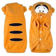 Fleece Pet Puppy Dog Winter Yellow Apparel Cotton Tiger Hoodie Coat for Small and Medium Breeds by PrettyPet! Stay fashion with your pet together!