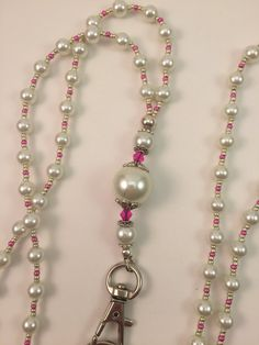 White Pearl Lanyard ID Holder Badge Holder by SuzyGotBeads