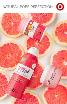 """Say """"yes"""" to the newest collection in skin care, Yes To Grapefruit. This line boasts a toning mist, brightening peel and night treatment for perfect pores. It's all 95% natural, packed with vitamin C, brightens skin, and is served up with refreshing grapefruit fragrance."""