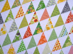 i like the 3 rows of quilting- use this for current hst quilt working on